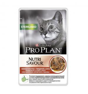 Влажный корм Pro Plan для стерилизованных кошек и кастрированных котов, с говядиной в соусе (0,085 кг)
