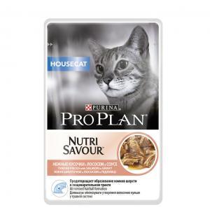 Влажный корм Pro Plan для взрослых кошек, живущих дома, с лососем в соусе (0,085 кг)