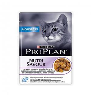 Влажный корм Pro Plan Nutri Savour для взрослых кошек, живущих дома, со вкусом индейки в желе (0,085 кг)
