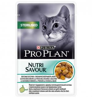 Влажный корм Pro Plan Nutri Savour для стерилизованных кошек и кастрированных котов, с океанической рыбой (0,085 кг)