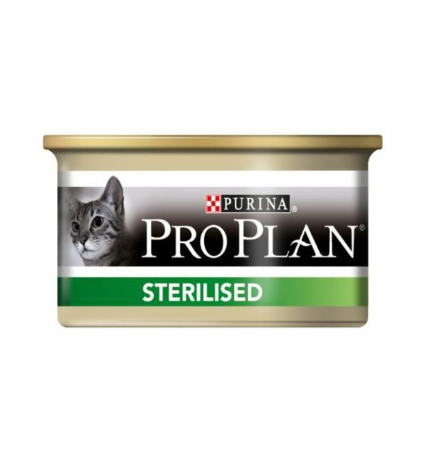 Консервы Pro Plan для стерилизированных кошек и кастрированных котов паштет, с тунцом и лососем (0,425 кг)