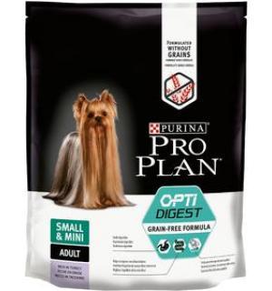Сухой корм Pro Plan Grain Free Formula для взрослых собак мелких и карликовых пород с чувствительным пищеварением, с высоким содержанием индейки (0,7 кг)