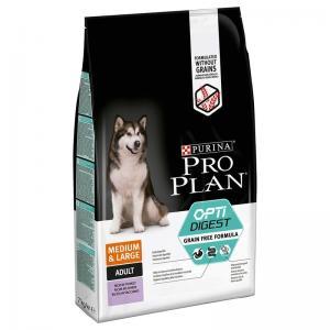 Сухой корм Pro Plan Grain Free Formula для взрослых собак средних и крупных пород с чувствительным пищеварением, с высоким содержанием индейки  (12 кг)