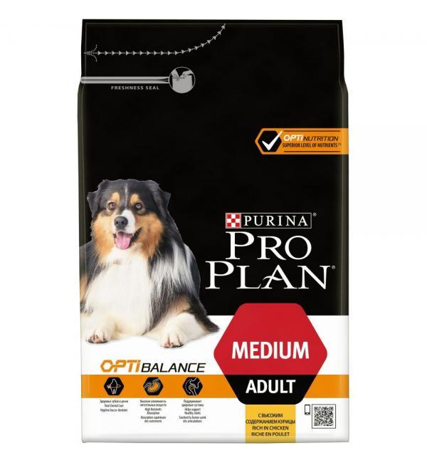 Сухой корм Pro Plan для взрослых собак средних пород, с высоким содержанием курицы (14 кг)
