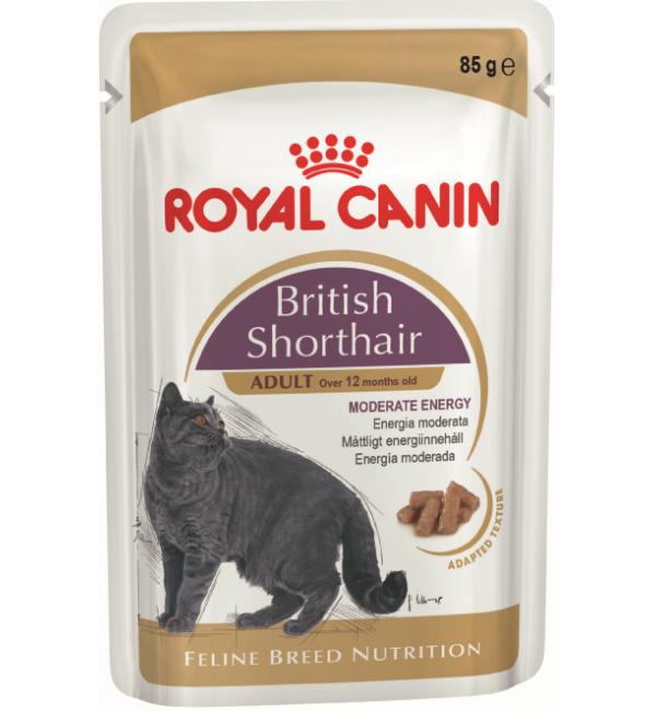 Влажный корм ROYAL CANIN BRITISH SHORTHAIR, кусочки в соусе для британских короткошерстных кошек (0,085 кг)